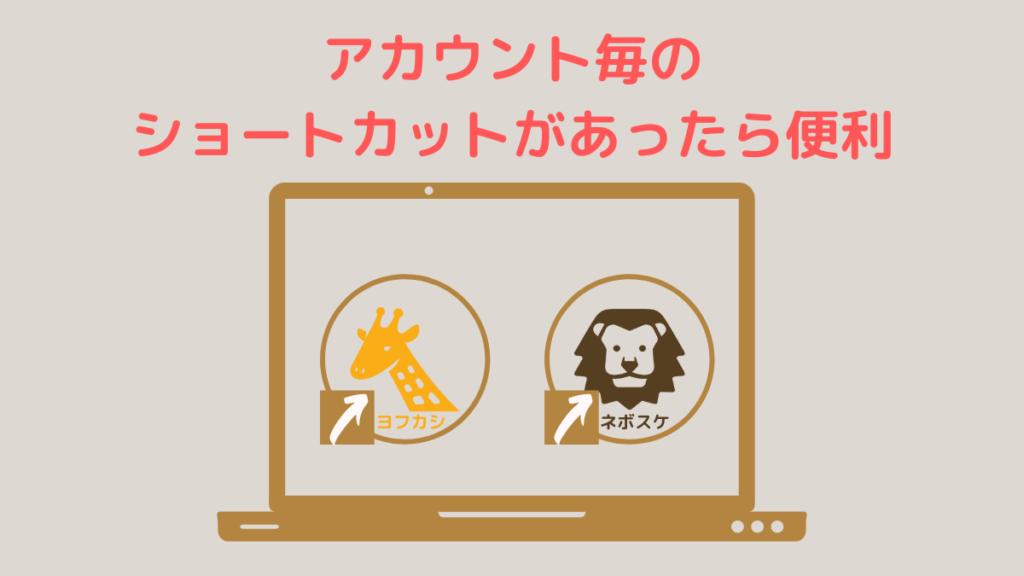 デスクトップにアカウント毎のショートカットがあれば便利